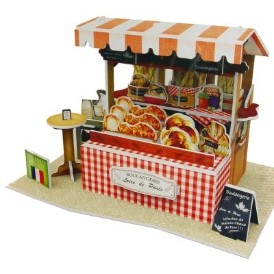 世界之窗 3D立體拼圖 法國-咖啡麵包攤 3D World Style