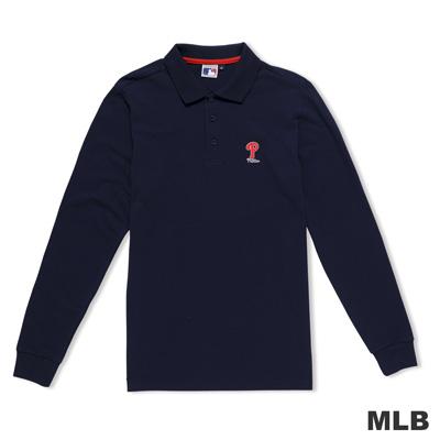 MLB-費城費城人隊簡約休閒字母造型電繡polo衫-深藍色(男)
