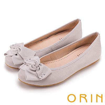 ORIN 微甜新時尚 造型交叉扭結平底娃娃鞋-灰色