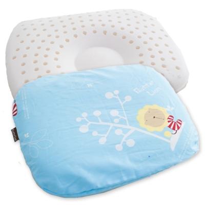 奶油獅-馬來西亞天然乳膠新生嬰兒模塑造形圓枕-水藍