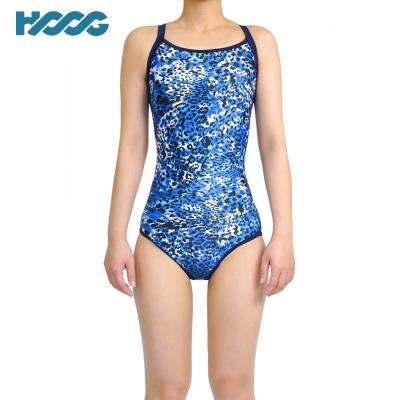 【韓國HOOG】連身挖背泳裝WRA681-豹紋藍