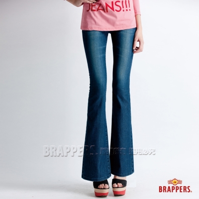 BRAPPERS 女款 新美腳Royal系列 彈性鑲鑽小喇叭褲-藍