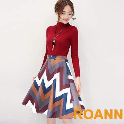 兩件套小立領素色打底針織毛衣+波紋短裙 (共兩色)-ROANN