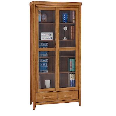 H&D 柚木3尺推門下抽書櫥 (寬91.5X深44X高197cm)