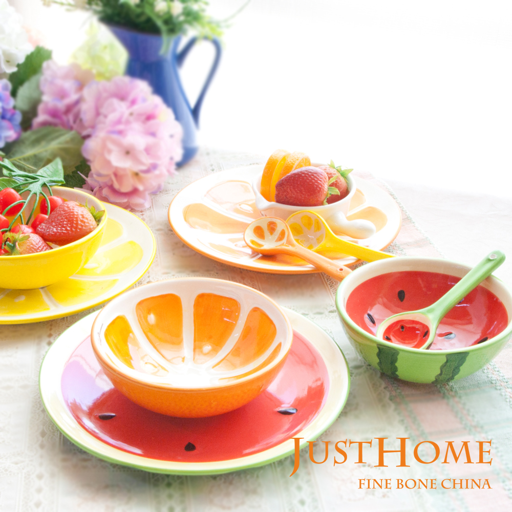 Just Home 繽紛水果陶瓷碗盤匙餐具組(超值2件組)