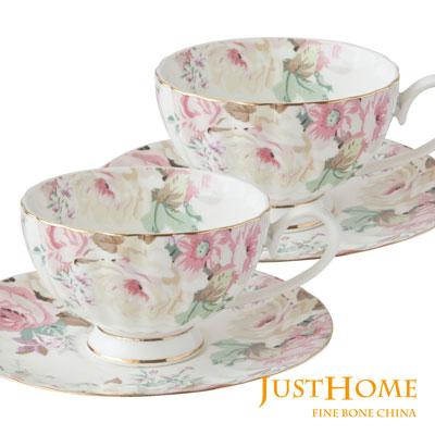 Just Home花漾薔薇新骨瓷2入咖啡杯盤組(附禮盒)
