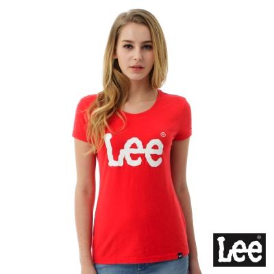 Lee 大白色LOGO短袖圓領TEE/RG-女款-紅