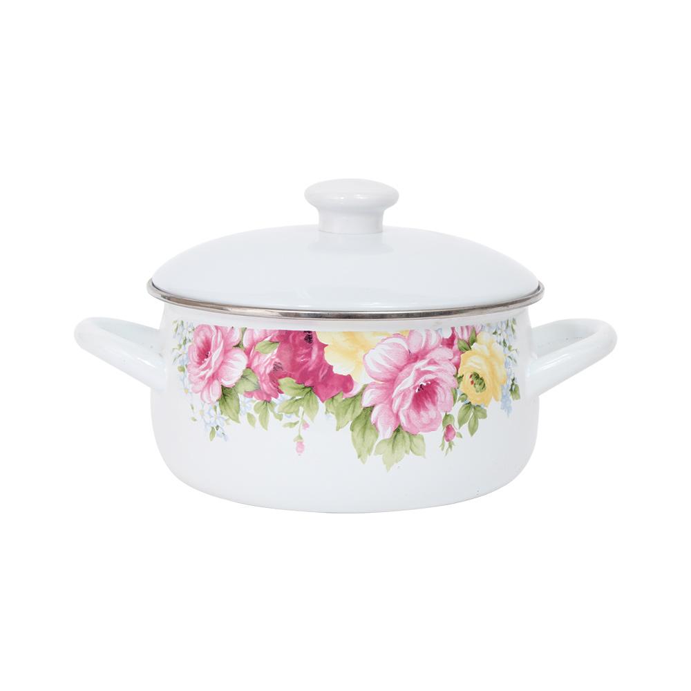 RISOTTO 法式庭園琺瑯系列-古典玫瑰素蓋湯鍋1.7L
