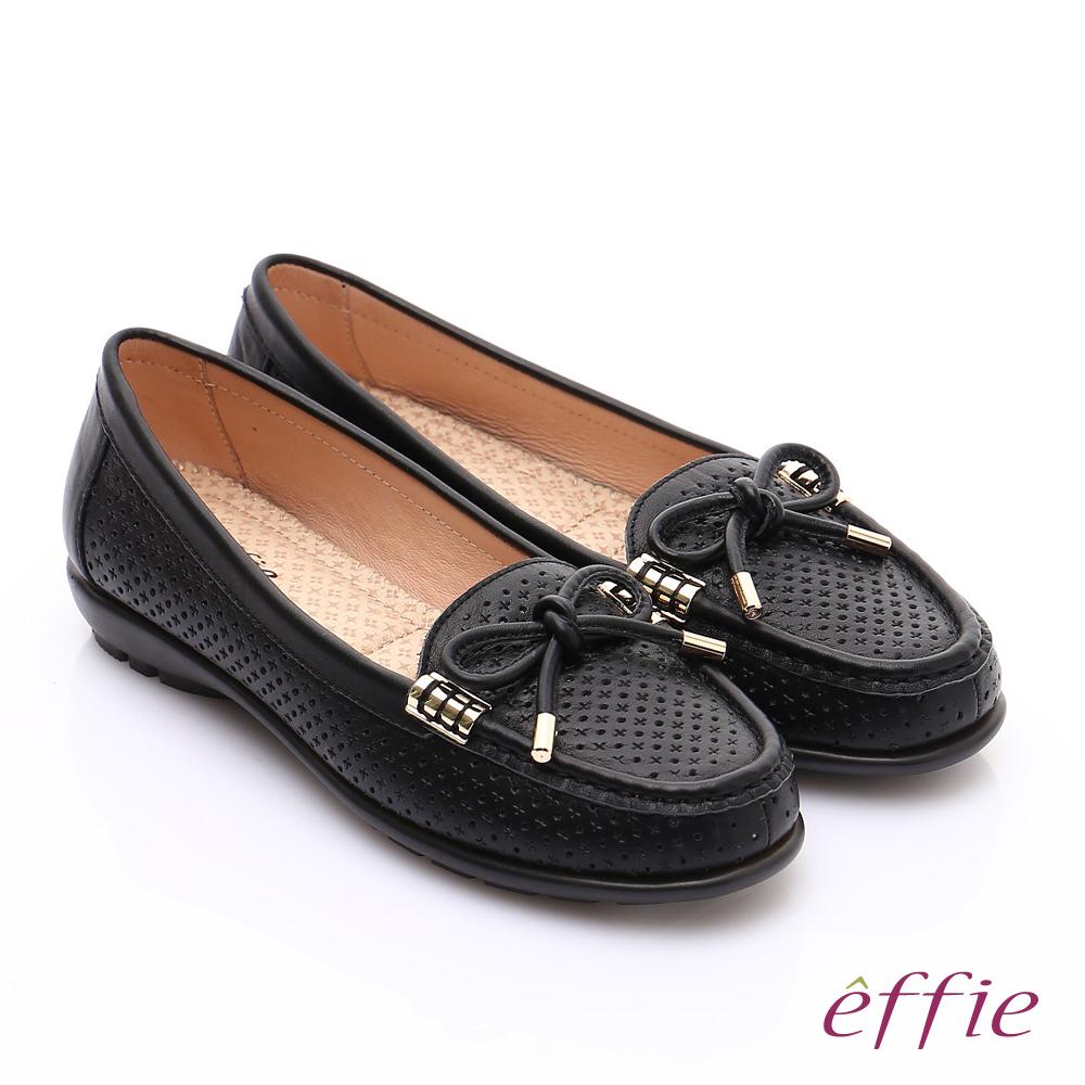 effie 舒適通勤 柔軟牛皮沖孔奈米休閒鞋 黑 @ Y!購物