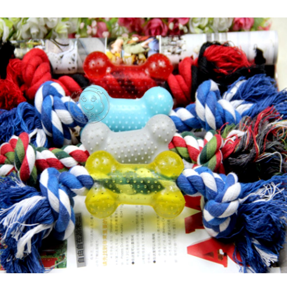 dyy》骨頭造型棉繩結玩具9cm顏色隨機出貨打發狗狗無聊時光