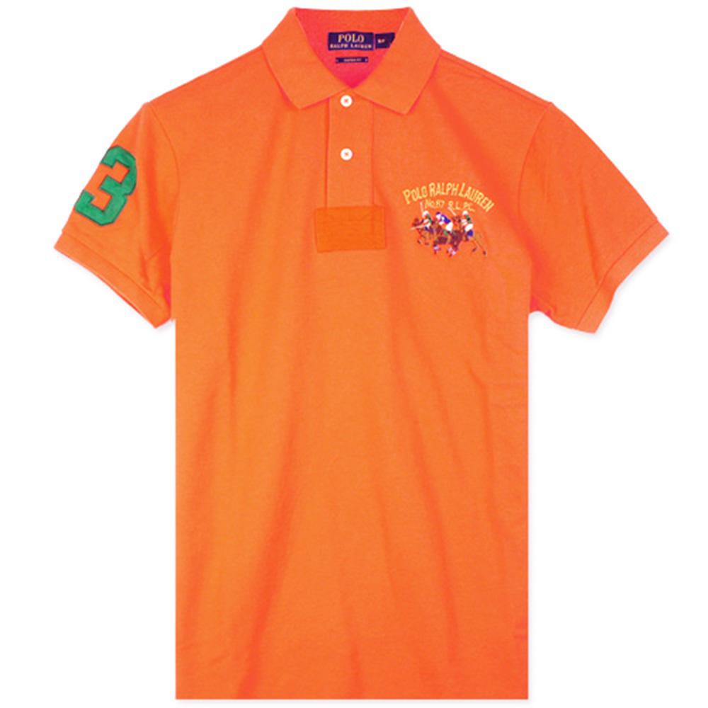 Ralph Lauren 彩色雙馬3號臂章POLO衫(橘)