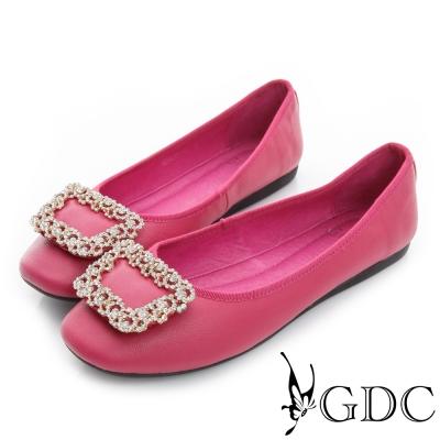 GDC百搭-真皮水鑽方形飾扣娃娃鞋-桃紅色