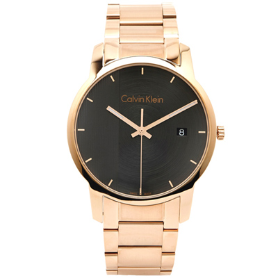CK Calvin Klein 優雅時尚玫瑰金錶帶手錶K2G2G643-灰黑面/43mm