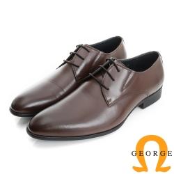 GEORGE 喬治-經典系列 簡約全真皮綁帶紳士皮鞋(男)-棕色