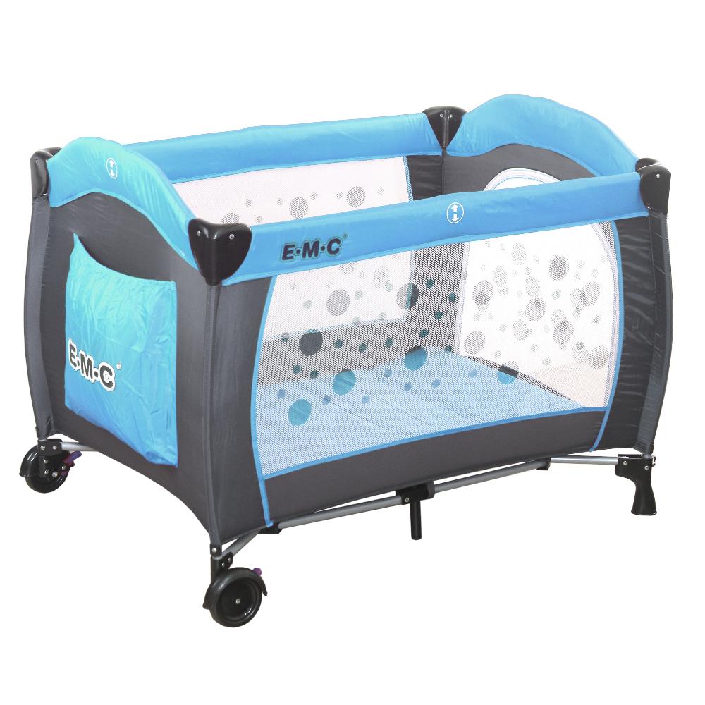 EMC 嬰幼兒安全遊戲床(平安藍)+雙層架+尿布台