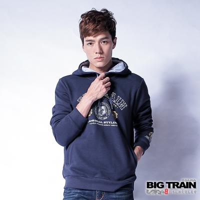 BIG TRAIN 老虎文字帽T-男-深藍