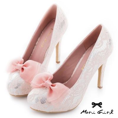 Mori girl 2way可拆式蝴蝶結蕾絲高跟婚鞋 粉