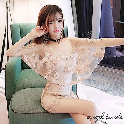 網紗鉤花吊帶連身裙露肩包臀洋裝(共二色)-天使波堤