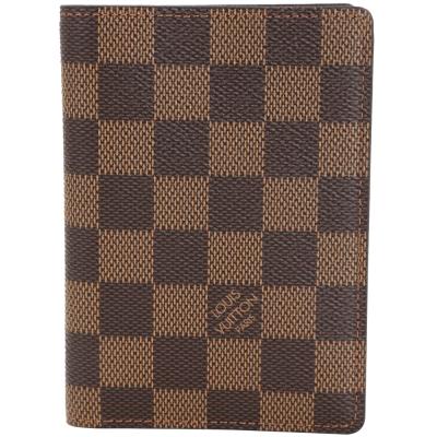 LV-N63023-James-經典棋盤格對折護照短夾-咖啡色
