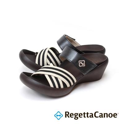 RegettaCanoe-條紋鞋面可調式樂步鞋-經典黑