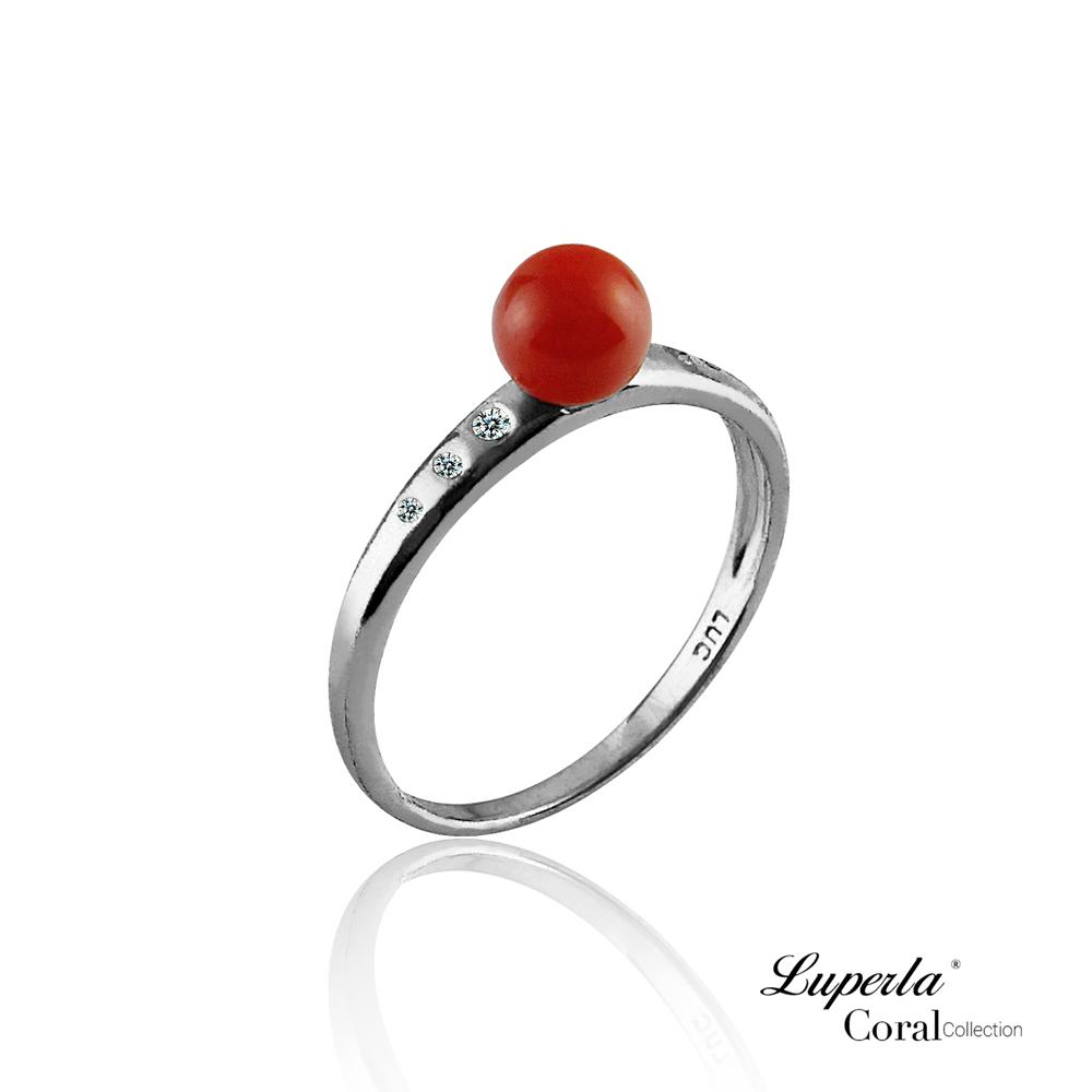 大東山珠寶 全紅珊瑚純銀戒指 富貴連年