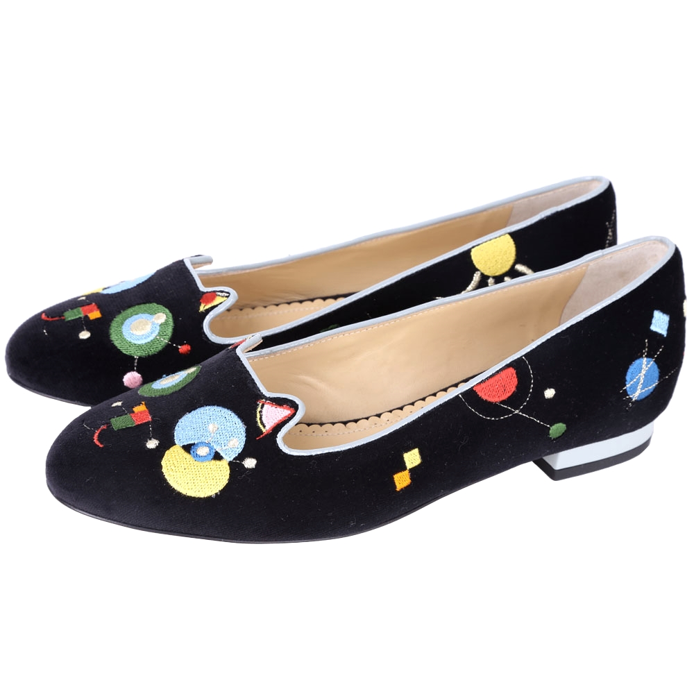 Charlotte Olympia Abstract Kitty天鵝絨貓咪鞋(黑色)