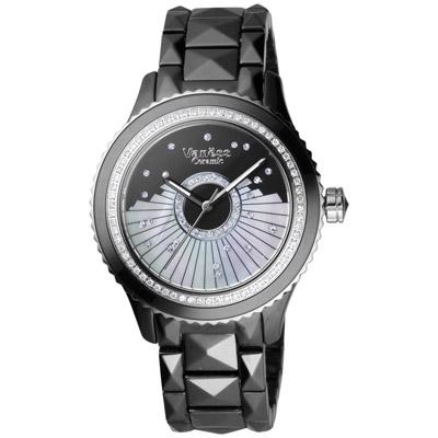 Vaness 冬戀序曲陶瓷腕錶-黑/38mm