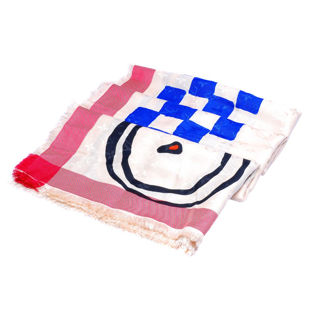 LV M73989 MONOGRAM GRAND PRIX印花羊毛混絲披肩/圍巾(白-展)