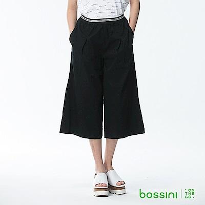 bossini女裝-素色七分寬褲03黑