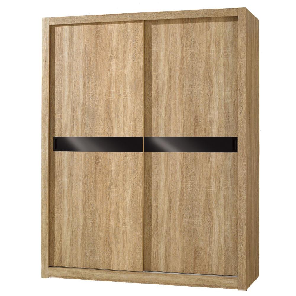 居家生活 凱風5X7尺橡木紋推門衣櫃