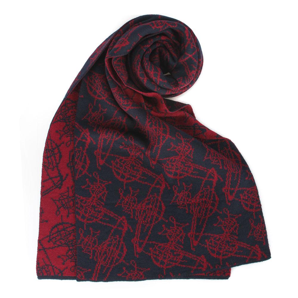 Vivienne Westwood 雙面滿版塗鴉星球羊毛圍巾-紅/深藍