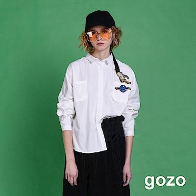 gozo 飛向宇宙火箭星球長袖襯衫(白色)