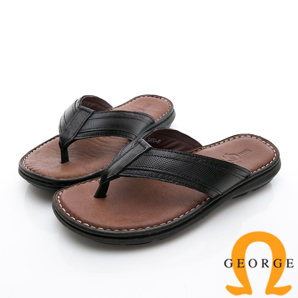 GEORGE 喬治-休憩系列 真皮手縫涼鞋拖鞋-黑