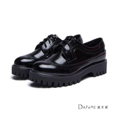 達芙妮DAPHNE-牛津鞋-鋸齒厚底綁帶牛津鞋-黑8H