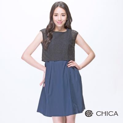 CHICA 中國風蕾絲假兩件洋裝(2色)