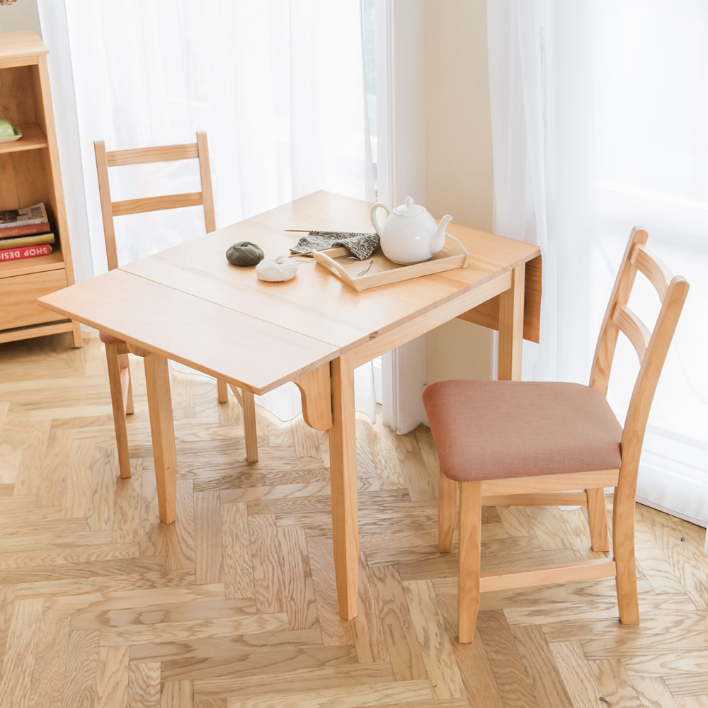 CiS自然行實木家具- 北歐雙邊延伸實木餐桌椅組一桌二椅74x122公分/原木+深咖啡椅墊