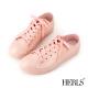 HERLS-雨季必備-帆布款低筒綁帶雨鞋-粉色