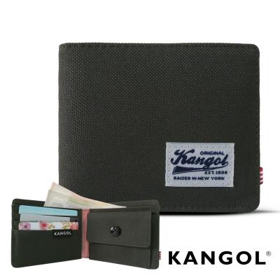 KANGOL 韓式潮流 多夾層/零錢袋橫式短皮夾+鑰匙圈禮盒-帆布鐵灰