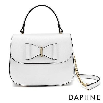 達芙妮DAPHNE-金屬鍊帶蝴蝶結手提側背兩用包-白