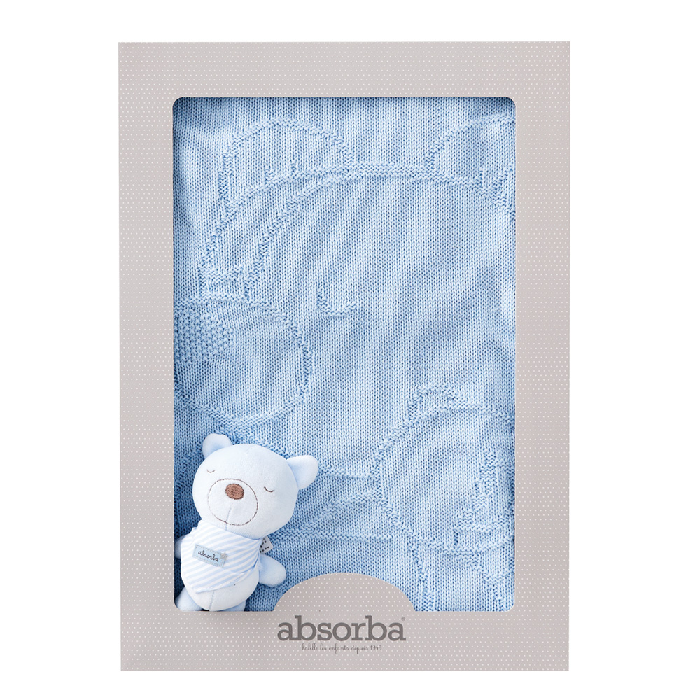 【奇哥】Absorba布偶熊編織毯(藍)