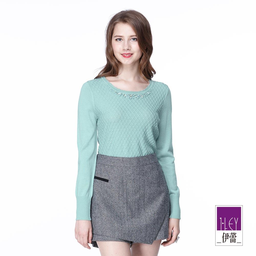 ILEY伊蕾 優雅格紋緹織羊毛針織上衣(紫/綠)