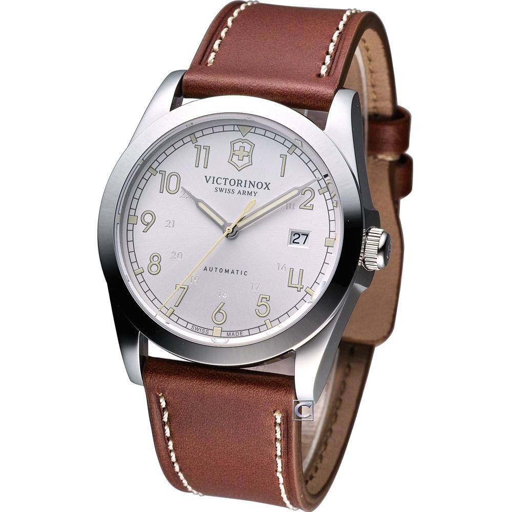 Victorinox Infantry 軍事風格機械腕錶-銀白/40mm