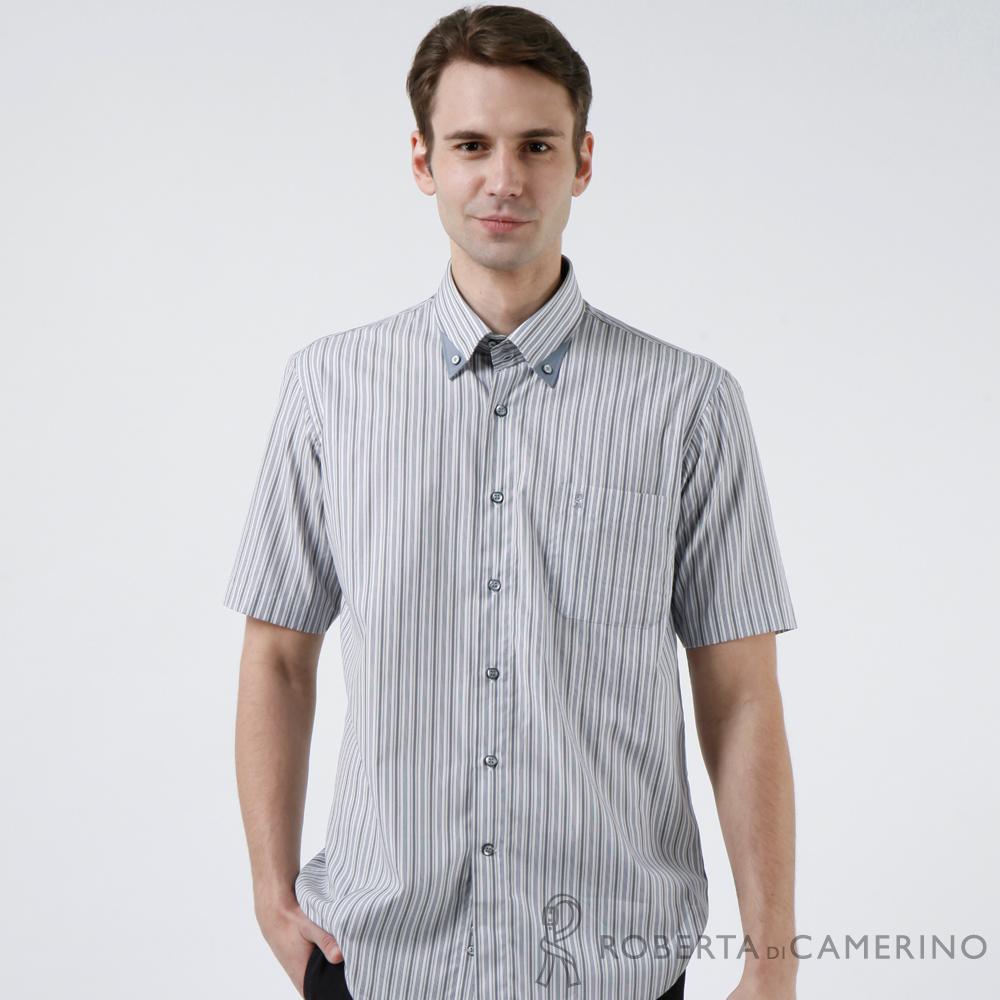 ROBERTA諾貝達 進口素材 台灣製 易整防皺 條紋短袖襯衫 灰色