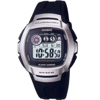 CASIO 穿梭時空兩地時間電子錶(W-210-1A)-白面