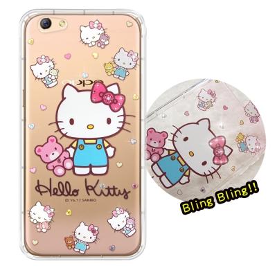 正版凱蒂貓 OPPO R9s 5.5吋 夢幻童話 彩鑽氣墊手機殼(愛戀小熊)