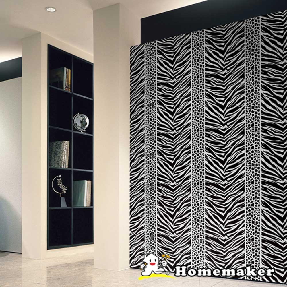FIXPIX【狂野豹紋/斑馬風-白底】立體浮雕絲絨自黏式壁紙(HY-V24012)
