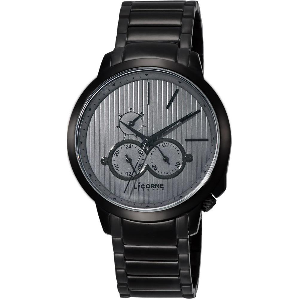 LICORNE 瓦力尋寶記雙眼時尚腕錶-黑灰/43mm