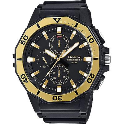 CASIO卡西歐 DIVER LOOK 潛水運動風手錶-金圈/57.9mm