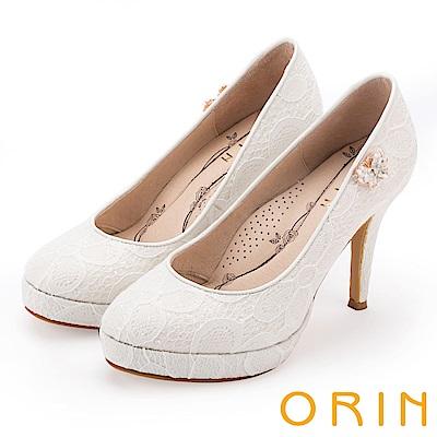 ORIN 晚宴婚嫁首選 夢幻蕾絲側邊水晶蝴蝶高跟鞋-白色