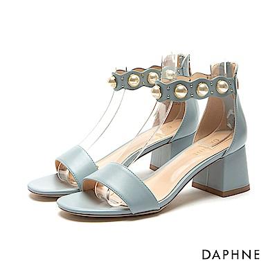 達芙妮DAPHNE 涼鞋-珍珠花邊踝帶一字粗跟涼鞋-淺藍